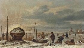 Anthonie van Borssom: Winterlandschaft mit Eisfischern