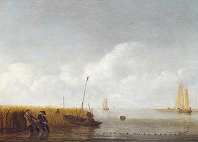 Hendrick Jacobsz Dubbels: Stille See mit Fischern beim Einholen der Netze