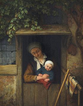 Adriaen van Ostade: Mutter mit Kind an einer Tür