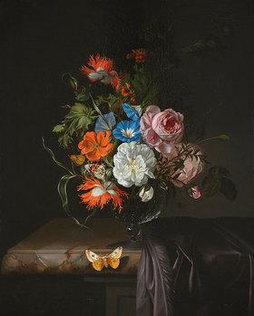 Rachel Ruysch: Blumen in einer Glasvase