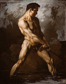 Théodore Géricault: Aktstudie eines seilziehenden Mannes