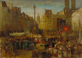 Ludwig von Hagn: Fronleichnamsprozession auf dem Marienplatz in München