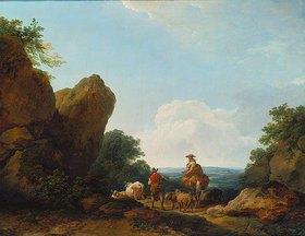 Philip James De Loutherbourg: Hirten mit Herde auf einer Paßhöhe