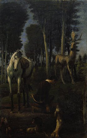 Hans von Marées: Der hl. Hubertus. Mitteltafel des Triptychons Die drei Reiter