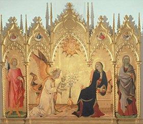 Simone Martini: Verkündigung Mariae. Seitenflügeln: die hll.Ansanus und Julitta