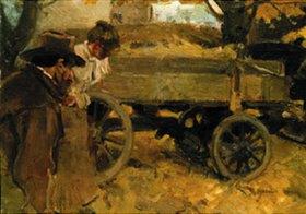 Arthur Langhammer: Mann und Mädchen bei einem Wagen