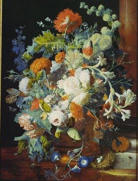Jan van Huysum: Blumenstrauß bei einer Säule