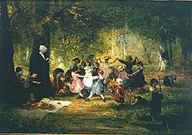 Anton Dieffenbach: Spielende Kinder im Wald
