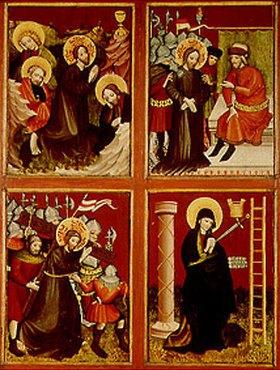 Meister des Altars von Berzenke: Vier Tafeln der Passion Jesu (Ölberg, Pilatus, Kreuztragung, Schmerzensmutter