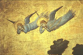 Giotto di Bondone: Detail aus dem Stefaneschi-Polyptichon: Zwei verzweifelte Engel
