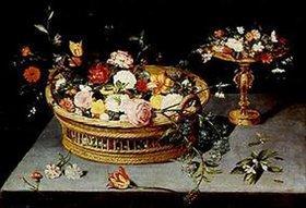 Jan Brueghel d.Ä.: Blumenkorb und Blumenaufsatz