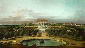Bernardo (Canaletto) Bellotto: Das kaiserliche Lustschloß Schloßhof, Gartenseite