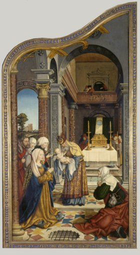 Martin Schaffner: Wettenhausener Altar. Linker Flügel: Darbringung im Tempel