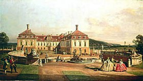 Bernardo (Canaletto) Bellotto: Das kaiserliche Lustschloß Schloßhof, Hofseite