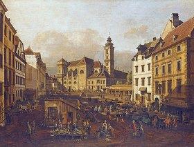Bernardo (Canaletto) Bellotto: Die Freyung in Wien, Ansicht von Südost