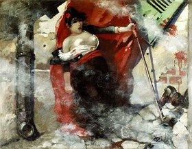 Théophile-Alexander Steinlen: Louise Michel auf den Barrikaden am 18.März 1871. Gemalt