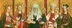 Bartholomeus Zeitblom: Die hl.Anna Selbdritt mit den hll. Barbara,Margarethe,Dorothea u.Magdalena