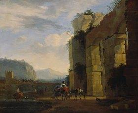 Nicolaes Berchem: Italienische Landschaft mit Aquäduktruine