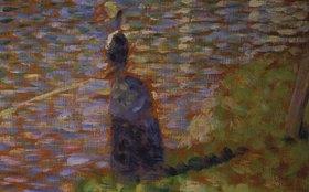 Georges Seurat: Anglerin am Seine-Ufer. Studie für das Gemälde La Grande Jatte
