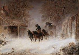 Hermann Kauffmann: Kutsche im Schneesturm