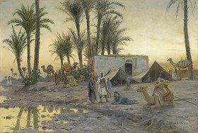 Peder Moensted: Beduinenkamp bei Gerzereh nach Sonnenuntergang