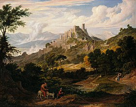 Joseph Anton Koch: Landschaft bei Olevano mit reitendem Mönch. Gegen