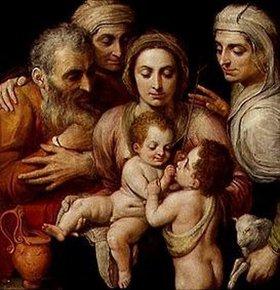 Frans Floris de Vriendt: Die hl.Familie mit Anna, Elisabeth und Johannes