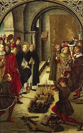 Pedro Berruguete: Die Feuerprobe (Verbrennung der Bücher des Dominikus von Guzmán)