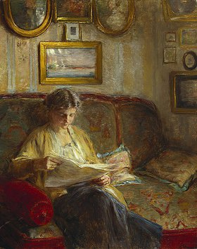 Bertha Wegmann: Lesende Frau auf einem Sof