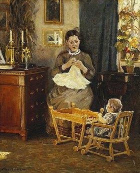 Viggo Pedersen: Innenraum mit handarbeitender Mutter (die Framilie des Künstlers)