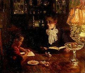 Aksel Frederiksen: Mutter und Kind in abendlichem Interieur