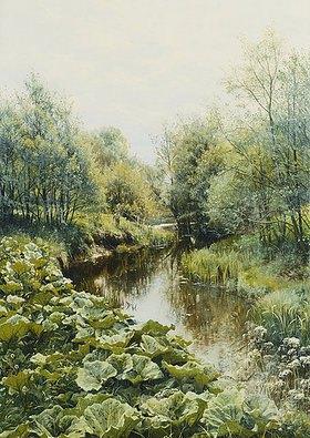 Peder Moensted: Sommertag an einem kleinen Fluß