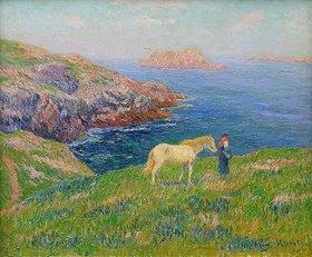 Henri Moret: Bäuerin mit Pferd an der Küste von Ouessant