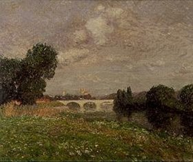 Gustave Loiseau: Stadt an einem Fluß mit Brücke