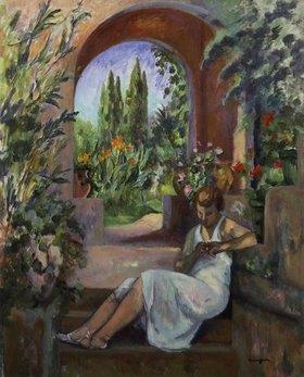 Henri Manguin: Junge Frau vor einem Rundbogen. (St. Tropez 1923)
