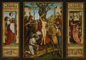 Hans Holbein d.Ä.: Sebastiansaltar: Die hll.Barbara und Elisabeth, Martyrium des hl. Sebastian