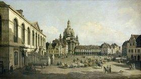 Bernardo (Canaletto) Bellotto: Der Neumarkt zu Dresden, vom Jüdenhofe gesehen