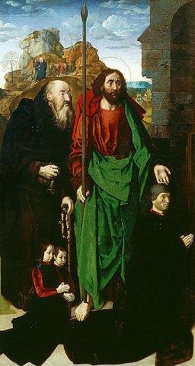 Hugo van der Goes: Portinari-Altar. Linker Flügel: Die hll. Antonius und Thomas