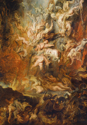 Peter Paul Rubens: Höllensturz der Verdammten. Detail mitte unten