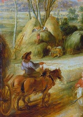 Peter Paul Rubens: Landschaft mit Regenbogen. Detail links unten: Pferdegespann