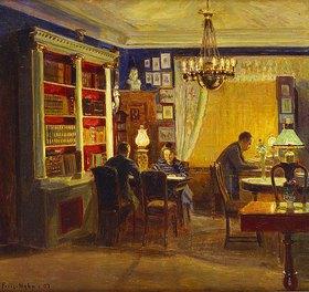 Poul Friis Nybo: Henrik und Margrethe Dam mit ihrem Vater im Salon