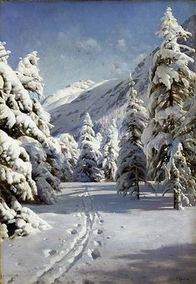 Peder Moensted: Winterlandschaft bei Morteratsch