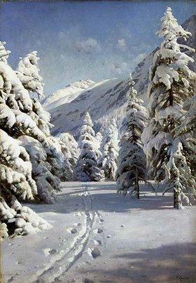Peder Moensted: Winterlandschaft bei Morteratsch