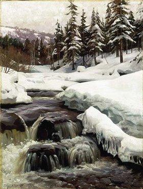 Peder Moensted: Winterlandschaft mit Gebirgsbach (Lillehammer)