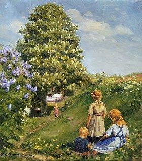 Hans Andersen Brendekilde: Spielende Kinder in Frühlingslandschaft