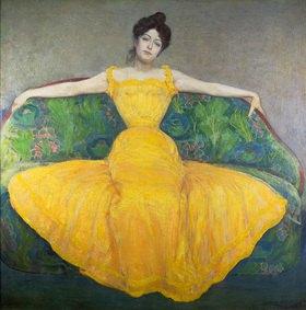 Max Kurzweil: Dame in gelbem Kleid