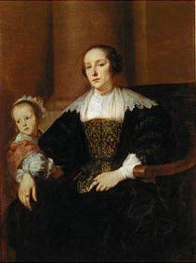 Anthonis van Dyck: Bildnis der Gemahlin des Malers Theodor Rombouts und ihrer Tochter(?)