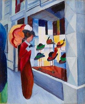August Macke: Frau mit Sonnenschirm vor einem Hutladen