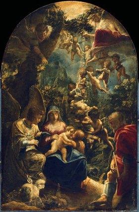 Adam Elsheimer: Die heilige Familie mit Engeln und dem kleinen Johannes dem Täufer