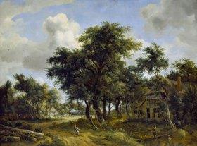 Meindert Hobbema: Dorfstraße unter Bäumen